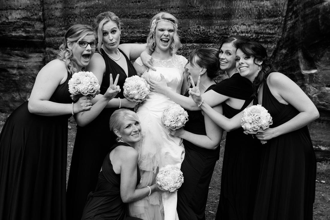 Bride and Bridesmaids boob grab at high rocks, kent
