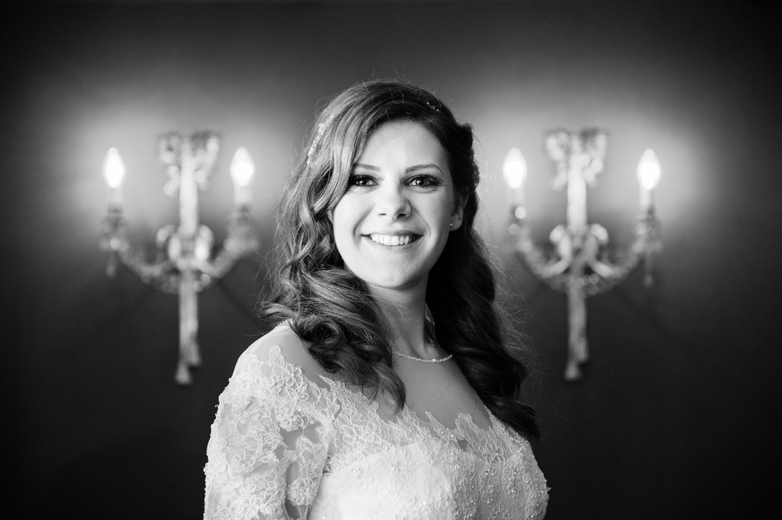 Portrait of the bride on her wedding day at The Montague on the Gardens