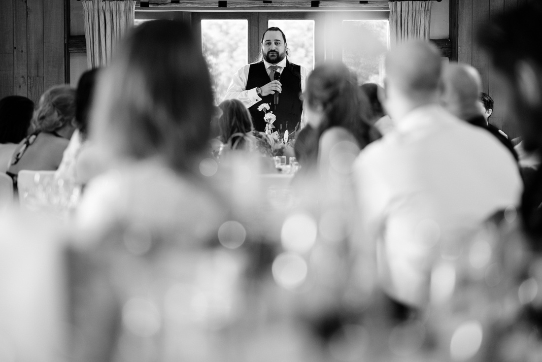Groom's speech from back of the room at High Rocks wedding Venue