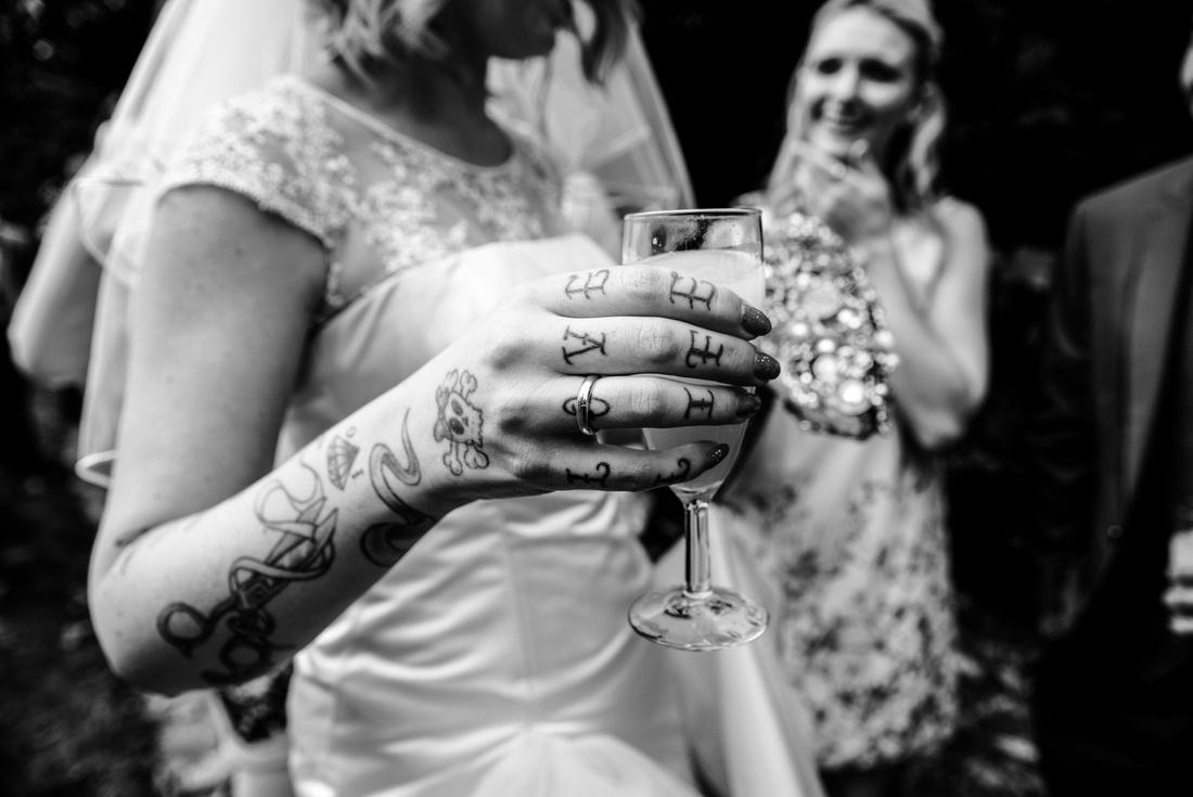 Love life tattoo on brides hand