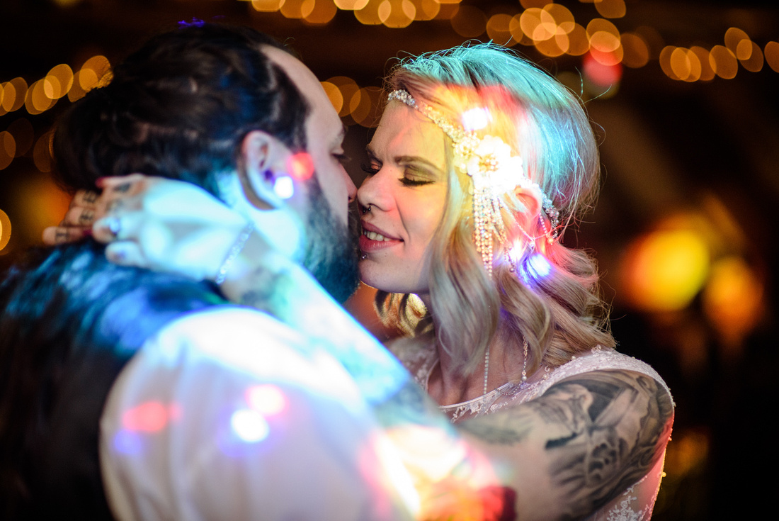First dance photo with lots of pretty lights